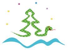 Kerstboom die van slang wordt gemaakt Stock Afbeelding