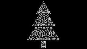 Kerstboom die van sneeuwvlokken wordt gemaakt het 3d teruggeven stock footage