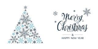 Kerstboom die van sneeuwvlokken wordt gemaakt Vrolijke Kerstmis en gelukkige nieuwe jaarkaart Vector royalty-vrije illustratie