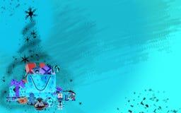 Kerstboom die van sterren en giften (heldere blauwe achtergrond) wordt gemaakt Stock Afbeeldingen