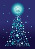 Kerstboom die van sterren wordt gemaakt stock illustratie