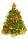 Kerstboom die van verschillend vegetarisch voedsel wordt gemaakt Stock Foto's