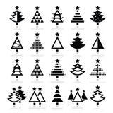 Kerstboom - diverse geplaatste typespictogrammen Stock Fotografie