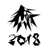 2018 Kerstboom in een abstract malplaatje van de stijlgrafiek royalty-vrije stock fotografie