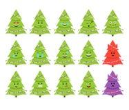 Kerstboom emoticons Vector Geïsoleerd op wit Stock Afbeelding