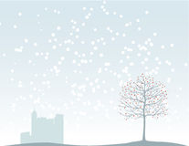 Kerstboom en de stad Stock Foto