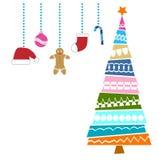 Kerstboom en decoratie Royalty-vrije Stock Afbeelding