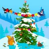 Kerstboom en dieren Stock Foto