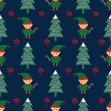 Kerstboom en elf met het naadloze patroon van het suikergoedriet vector illustratie
