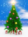 Kerstboom en gift royalty-vrije illustratie