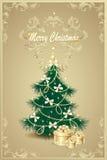 Kerstboom en giftenbogen, klok, garlan sterren, Royalty-vrije Stock Foto