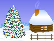 Kerstboom en huis Royalty-vrije Stock Foto's