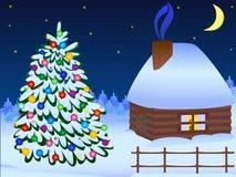 Kerstboom en huis Royalty-vrije Stock Foto