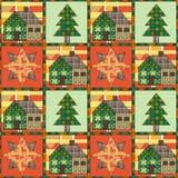 Kerstboom en huis naadloos patroonlapwerk als achtergrond Royalty-vrije Stock Afbeelding
