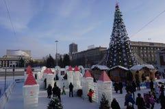 Kerstboom en ijscijfers stock afbeelding