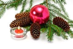 Kerstboom en kaars Royalty-vrije Stock Foto's