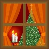 Kerstboom en kaarsen thuis royalty-vrije illustratie