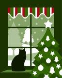 Kerstboom en kat bij venster Stock Foto