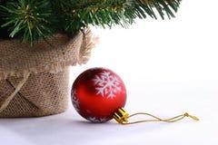 Kerstboom en Kerstmisbal royalty-vrije stock afbeelding
