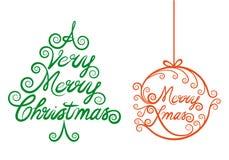 Kerstboom en Kerstmisbal, vector Stock Foto's
