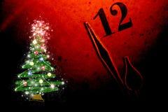 Kerstboom en klok vector illustratie