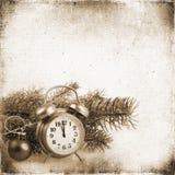 Kerstboom en klok op de achtergrond van oud geweven F Stock Foto's