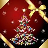 Kerstboom en lint Royalty-vrije Stock Foto's