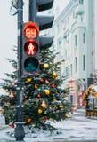 Kerstboom en markt, Moskou Stock Fotografie