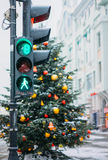 Kerstboom en markt, Moskou Stock Foto's