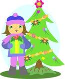Kerstboom en Meisje met Gift vector illustratie