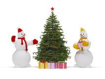 Kerstboom en sneeuwman Stock Afbeelding