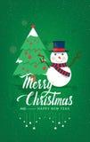 Kerstboom en Sneeuwman op een groene vector als achtergrond Stock Afbeeldingen