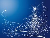 Kerstboom en sneeuwvlok Stock Foto's
