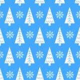 Kerstboom en sneeuwvlok vector naadloos patroon Royalty-vrije Stock Foto