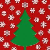 Kerstboom en sneeuwvlokken Stock Foto