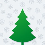 Kerstboom en sneeuwvlokken Stock Afbeeldingen