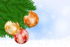 Kerstboom en snuisterijen Royalty-vrije Stock Foto's