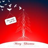 Kerstboom en sommige vliegende vogels met banner Stock Afbeelding