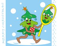 Kerstboom en spiegel Royalty-vrije Stock Afbeeldingen