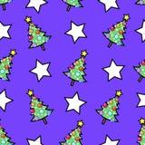 Kerstboom en sterren Stock Illustratie