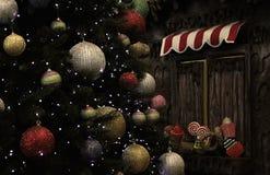 Kerstboom en Suikergoedkiosk Stock Afbeelding