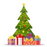 Kerstboom en vakantiegiften Royalty-vrije Stock Foto's