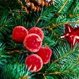 Kerstboom en vakantieornamenten Uitstekende Kerstboom Pi Royalty-vrije Stock Afbeeldingen