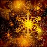 Kerstboom en vurige sneeuwvlokken Stock Afbeeldingen