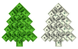 Kerstboom gemaakte †‹â€ ‹van honderd dollarsbankbiljetten Royalty-vrije Stock Foto's