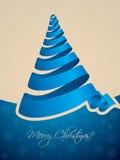 Kerstboom gestalte gegeven lintachtergrond Stock Fotografie
