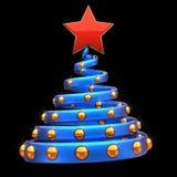 Kerstboom gestileerde decoratie blauwe gouden rode ster vector illustratie