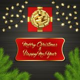 Kerstboom, giftdoos, boog, slinger, etiket Royalty-vrije Stock Foto