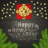 Kerstboom, giftdoos, slinger, gouden lintboog Stock Afbeeldingen