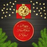 Kerstboom, giftdoos, slinger, gouden lintboog Royalty-vrije Stock Afbeelding